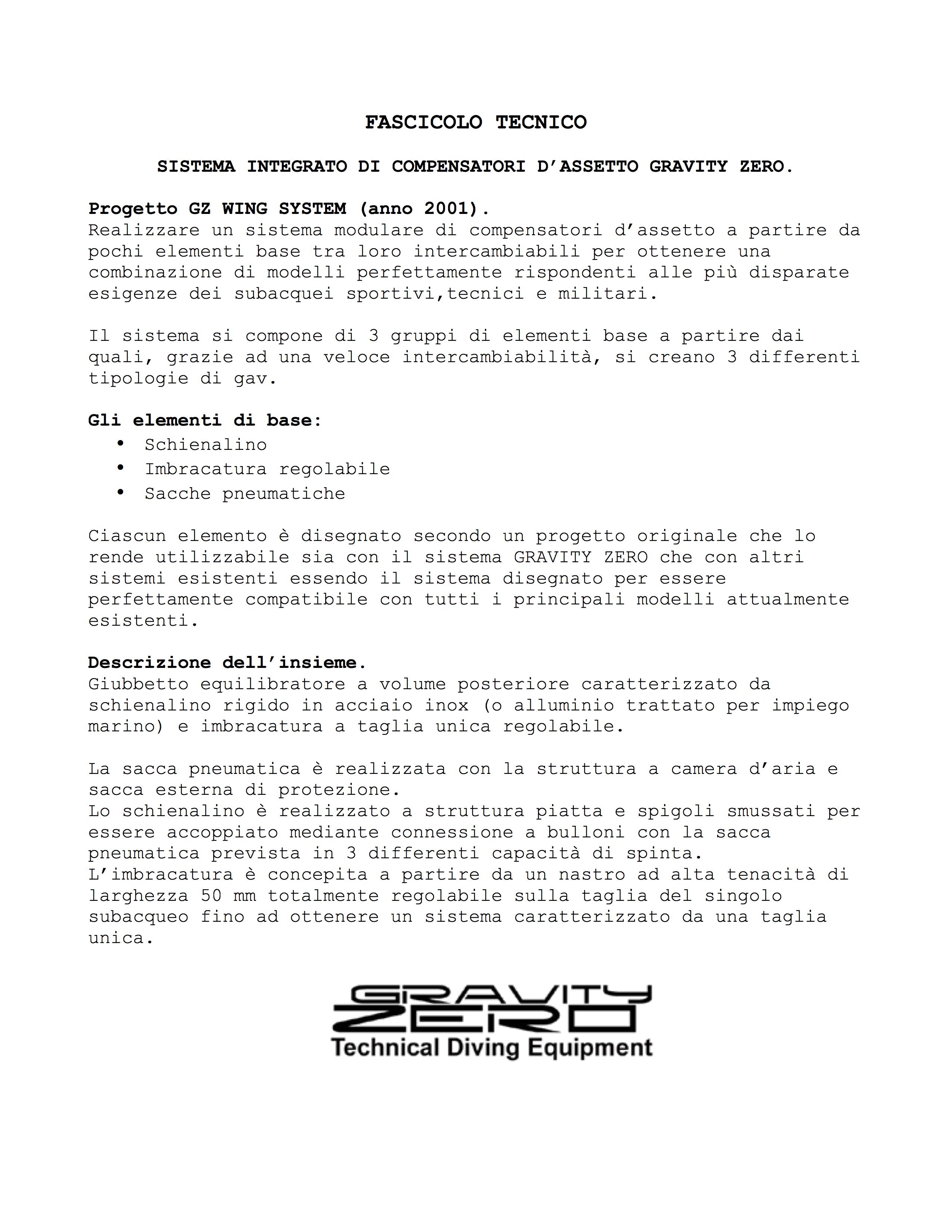 Fascicolo tecnico del progetto GZ WING SYSTEM