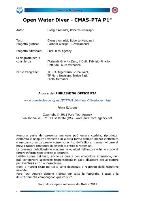 Consulenza per manuale Open Water Diver PTA