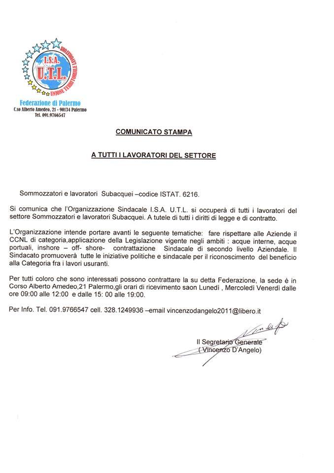 comunicato stampa organizzazione sindacale