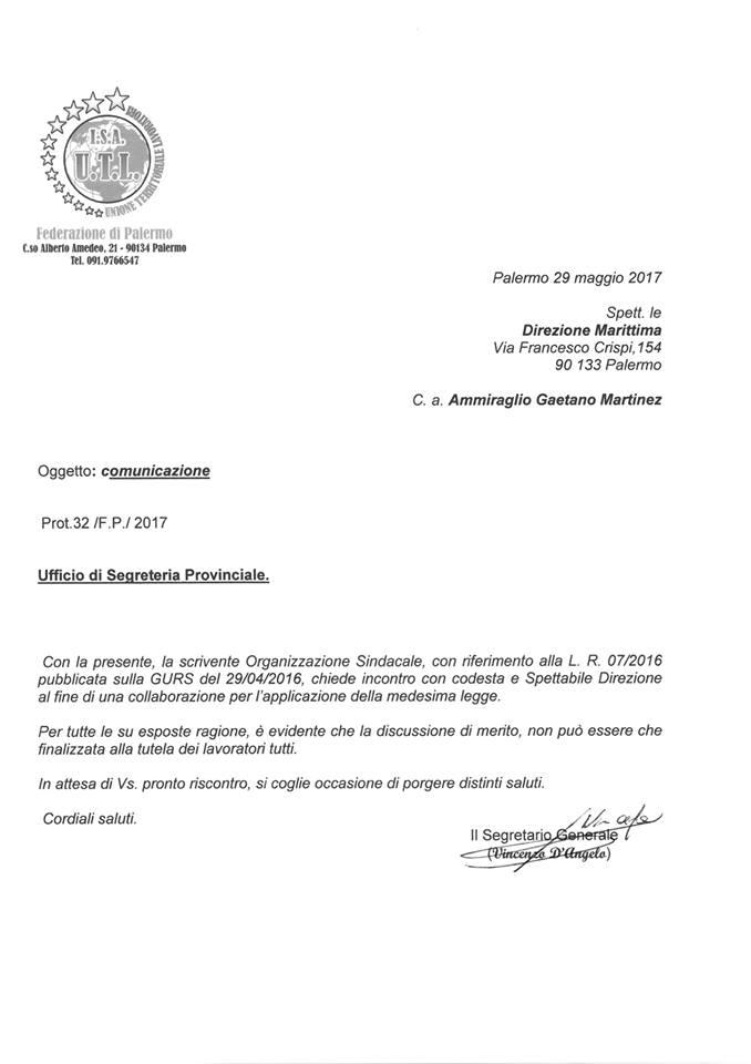 Richiesta incontro con il comandante della Capitaneria di Porto di Palermo sull'applicazione della legge 07/2016
